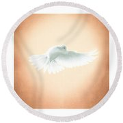 Dove In Flight Triptych Round Beach Towel by YoPedro