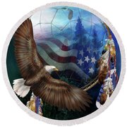 Dream Catcher - Freedom's Flight Round Beach Towel by Carol Cavalaris