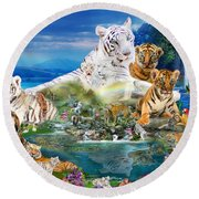 Dreaming Of Tigers  Variation  Round Beach Towel by Alixandra Mullins