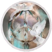 Dreams Of Peace Round Beach Towel by Carol Cavalaris