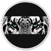 Dressed To Kill - White Tiger Art By Sharon Cummings Round Beach Towel by Sharon Cummings