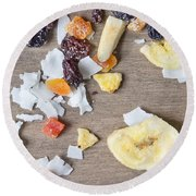 Dried Fruit Round Beach Towel by Tom Gowanlock