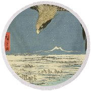 Eagle Over One Hundred Thousand Acre Plain At Susaki Round Beach Towel by Hiroshige