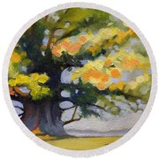 Earlysville Virginia Ancient White Oak Round Beach Towel by Catherine Twomey