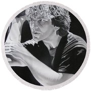 Eddie Vedder Black And White Round Beach Towel by Joshua Morton