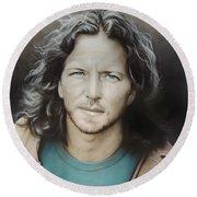 ' Eddie Vedder ' Round Beach Towel by Christian Chapman Art