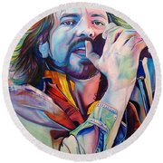 Eddie Vedder In Pink And Blue Round Beach Towel by Joshua Morton