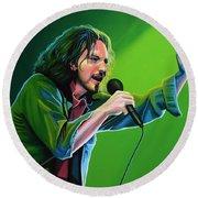Eddie Vedder Of Pearl Jam Round Beach Towel by Paul Meijering