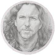 Eddie Vedder Round Beach Towel by Olivia Schiermeyer