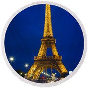 Eiffel Tower By Night Round Beach Towel by Inge Johnsson