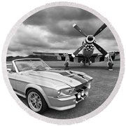 Eleanor Mustang With P51 Black And White Round Beach Towel by Gill Billington
