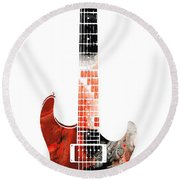 Electric Guitar - Buy Colorful Abstract Musical Instrument Round Beach Towel by Sharon Cummings