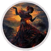 Elements - Fire Round Beach Towel by Cassiopeia Art