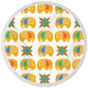 Elephant Print Round Beach Towel by Susan Claire