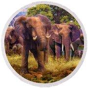Elephants Round Beach Towel by Jan Patrik Krasny