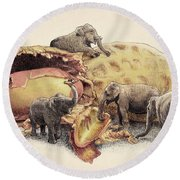 Elephant's Paradise Round Beach Towel by Eric Fan