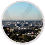 Elevated View Of City, Los Angeles Round Beach Towel by Panoramic Images