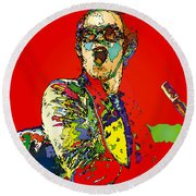 Elton In Red Round Beach Towel by John Farr