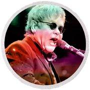 Elton John Round Beach Towel by Marvin Blaine