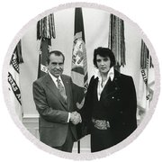 Elvis And Nixon Round Beach Towel by Unknown