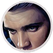 Elvis Presley Artwork 2 Round Beach Towel by Sheraz A