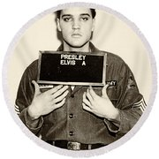 Elvis Presley - Mugshot Round Beach Towel by Digital Reproductions