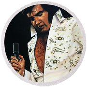 Elvis Presley Painting Round Beach Towel by Paul Meijering