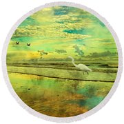 Emerald Evening Round Beach Towel by Betsy Knapp