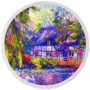 English Cottage Round Beach Towel by Jane Small