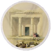 Entrance To The Caves Of Bani Hasan Round Beach Towel by David Roberts