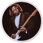 Eric Clapton Painting Round Beach Towel by Paul Meijering