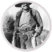 Ernest Hemingway Fishing Round Beach Towel by Underwood Archives
