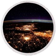 Round Beach Towel featuring the photograph Europe At Night, Satellite View by Science Source