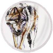 European Wolf Round Beach Towel by Mark Adlington