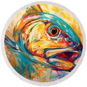 Expressionist Redfish Round Beach Towel by Savlen Art