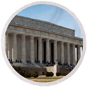 Facade Of The Lincoln Memorial, The Round Beach Towel by Panoramic Images