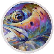 Face Of A Rainbow- Rainbow Trout Portrait Round Beach Towel by Savlen Art