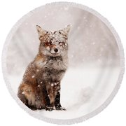 Fairytale Fox _ Red Fox In A Snow Storm Round Beach Towel by Roeselien Raimond