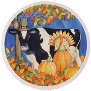 Fall Cow Round Beach Towel by Kathleen Parr Mckenna