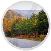 Fall On Fox Hollow Road Round Beach Towel by Cricket Hackmann
