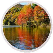 Fall Reflection Round Beach Towel by Todd Hostetter
