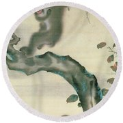 Family Of Monkeys In A Tree Round Beach Towel by Japanese School