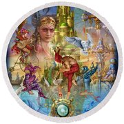 Fantasy Island Round Beach Towel by Ciro Marchetti