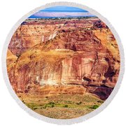 Farming In Canyon De Chelly Round Beach Towel by Bob and Nadine Johnston