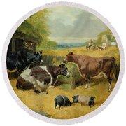 Farmyard Scene Round Beach Towel by John Frederick Herring Snr