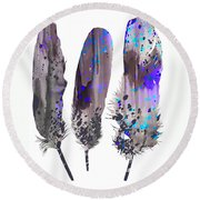 Feathers 2 Round Beach Towel by Luke and Slavi