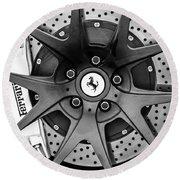 Ferrari Wheel Emblem - Brake Emblem -0430bw Round Beach Towel by Jill Reger