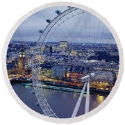 Ferris Wheel In A City, Millennium Round Beach Towel by Panoramic Images