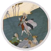 Fetes Galantes Round Beach Towel by Georges Barbier