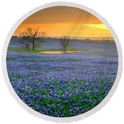 Field Of Dreams Texas Sunset - Texas Bluebonnet Wildflowers Landscape Flowers  Round Beach Towel by Jon Holiday